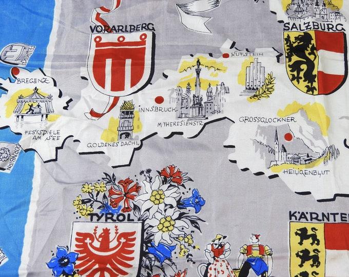 Vintage Salzburg Festival Souvenir, Blue & White Federalist Scarf, Austrian Empire Handkerchief, Burgenland Tyrol Karnten, European Fashion