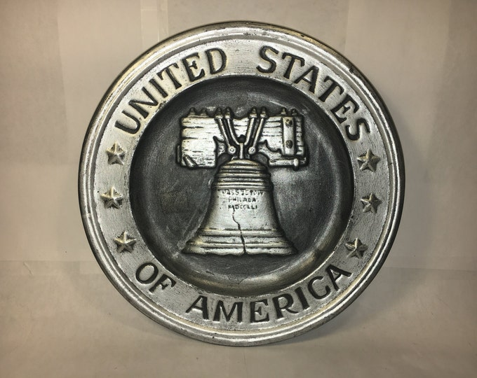 Vintage Liberty Bell Plate, Decorative Ceramic Plate, United States of America by BL 1976, Silver Gray Black Plate, Wall Hanging Decoration