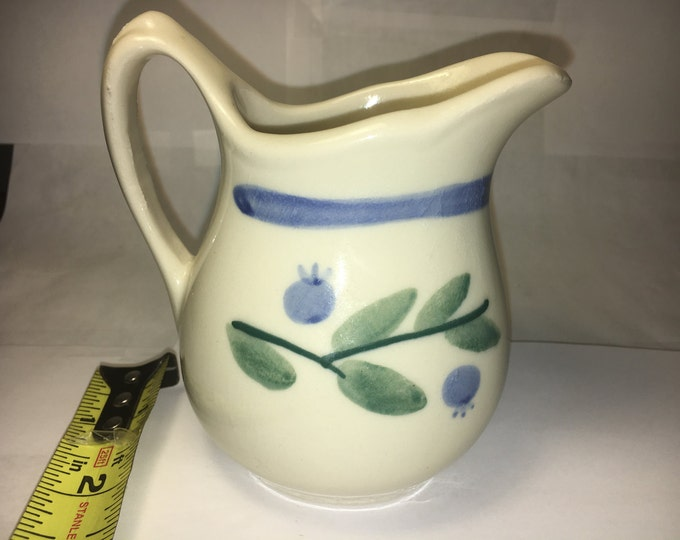 Vintage Mini Creamer, Retro Mini Pitcher, Ceramic Honey Pot, Ivory W/ Green Leaves & Blueberries, Decorative Kitchen Ware, made in 1983