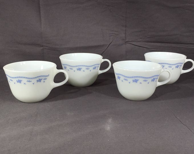 Vintage Pyrex Cups (4), Blue Flowers White Milk Glass Teacups, Decorative Kitchen Glassware, Collectible White Blue Dinnerware, Coffee Cups
