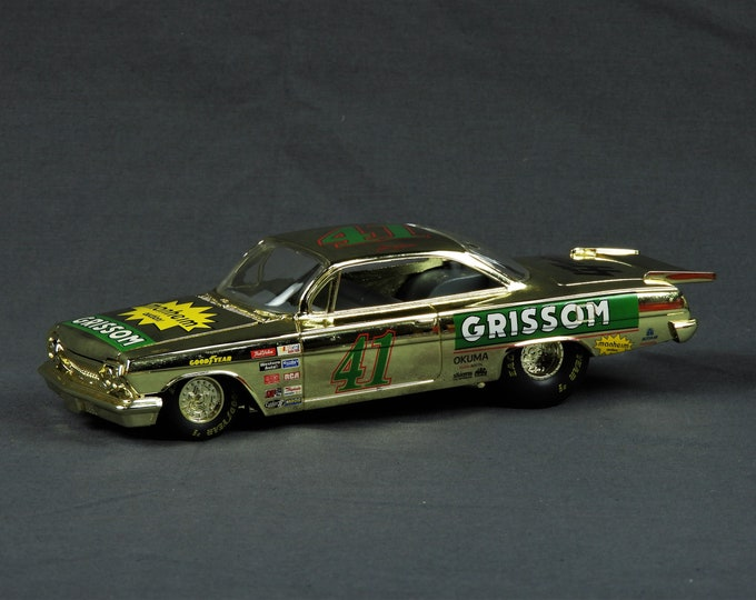 Vintage Diecast Replica, Grissom Car, Racing Champions, Original Box, 1/24 Scale, Adult Collectible, Gold & Green, 1997 Metal Toy, Bel Air