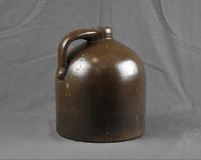 Antique Stoneware Jug, Primitive Crock, Brown Pottery, Home Decor, Salt Glaze, Ceramic Art, Country Bottle, Entryway Decoration
