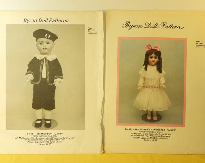 """Vintage Byron Doll Patterns (2),Dolls 24"""" BY-154-Kestner Boy-""""David"""" Doll,Byron 26"""" BY-172-S&H Heinrich Handwerck-""""Aimee"""", Pattern Craft"""