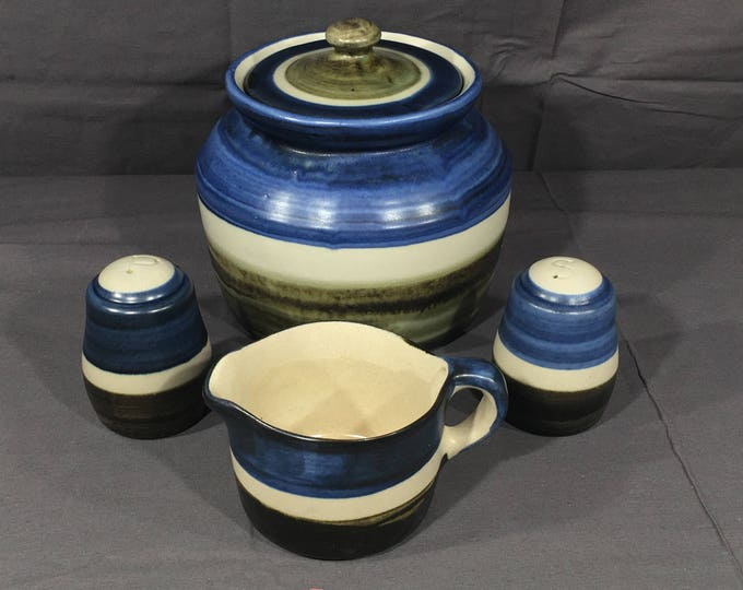 Vintage Pottery Set (5 pcs), Chatham NJ Pottery, Decorative Blue Beanpot, Brown Shakers, Striped Stoneware Creamer, Country Americana Dishes