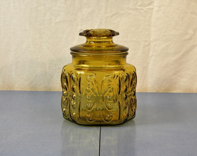 Vintage Atterbury Canister, Amber Gold Jar, Imperial Glass, Decorative Relief, Six 6 Sided, Kitchen Decor, Coffee Sugar Can, Seal Lid