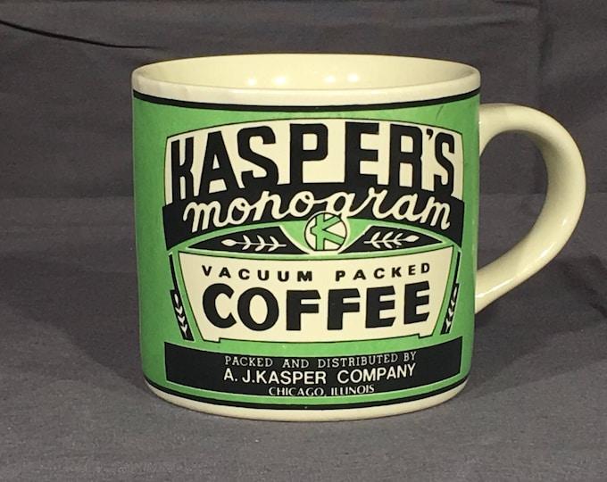 Vintage Kasper's Mug, Decorative Green Yesteryear Coffee Cup, Cool Old Mug, 1992 Monogram Vacuum Packed Coffee, Retro Design Ceramic Art Mug
