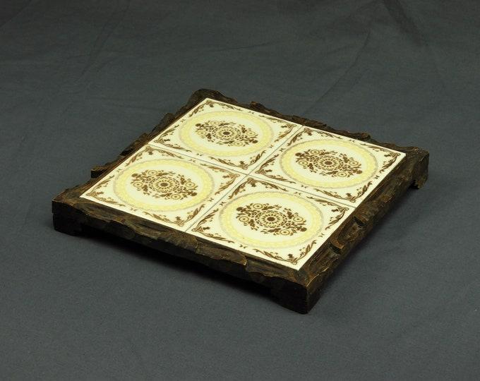 Vintage Square Trivet, Carved Wood Frame, Kitchen Decor, Porcelain Dal Tile, Platform Hot Plate, White w/ Floral Scrollwork, Made in Mexico