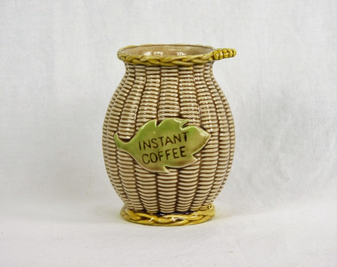 Vintage Tilso Canister, Instant Coffee, Basket Weave, Gold & Brown, Ceramic Jar, 52 973 Japan, Kitchen Decor, Home Decoration