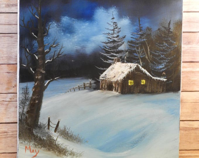 Vintage Winter Night Oil Painting, Decorative Blue & White Winter Picture, Oil on Canvas Signed by May,Cabin in Winter Art,Midnight Blue Art