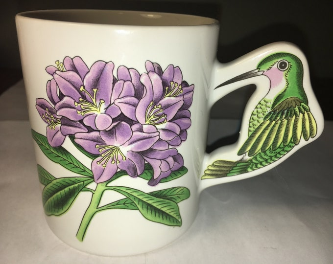 Vintage Hummingbird Handle Floral Mug Cup White Huge Purple Flower