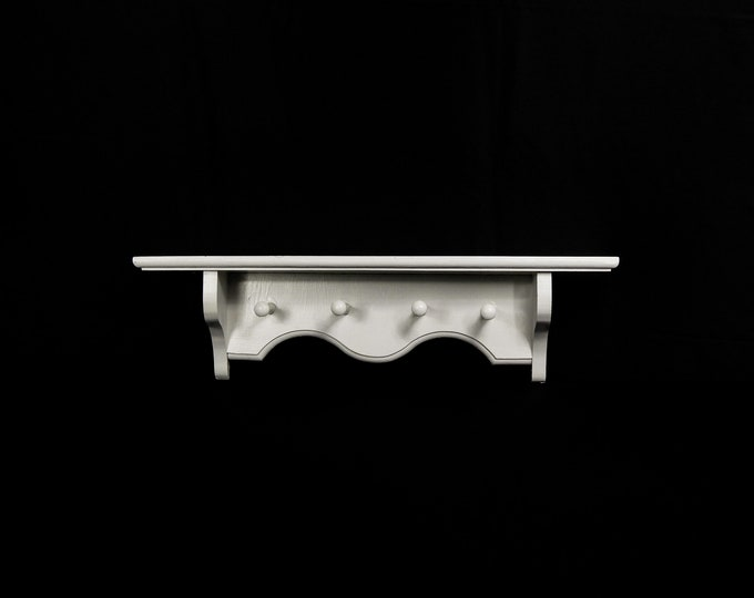 Vintage White Shelf, Coat Rack, Wooden Hanger, Scarf Holder, Shabby Chic, Country Farmhouse, Home Decor, Entryway Decoration, Distressed