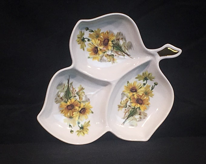 Vintage German Leaf Tray, Old Nuremberg Bavaria Germany, Sunflower Dish, Decorative White Yellow Bowl, Three Section China Dinnerware