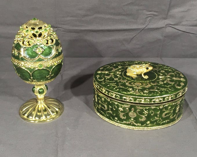 Reserved on Hold, Vintage Gold Frog Boxes (2), Decorative Green Egg Musical Box, Collectible Vanity Dish, Oval Jewelry Box, Wind Musical Art