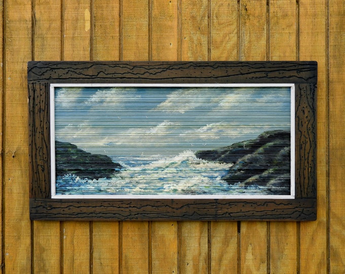 Vintage Seascape Painting, Biloxi 1986, Framed Landscape, Blue & White, Brown Frame, Wall Hanging, W Johnson Art, Home Decor, Oil on Wood