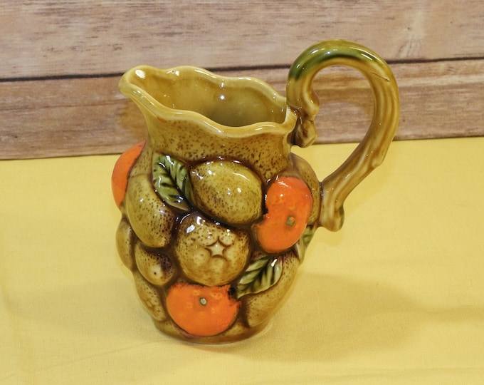 Vintage Fruit Creamer, Small Orange & Gold Pitcher, Inarco E3715 Cream Server, Ceramic Dinnerware, Decorative Kitchenware