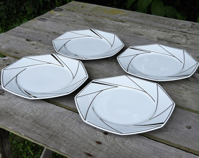 Vintage Ranmaru Dinner Plates (4), Crystalline White, Gold Accents, Gallery Collections, Octagonal Shape, Glass Ceramics, Fine Dinnerware