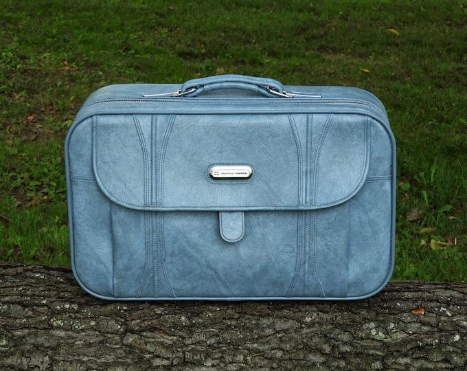 Vintage Blue Suitcase, American Tourister, Retro 1986, Compact Carryon, Blue Luggage, Soft Case, Vinyl w Chrome Accents, Home Decor
