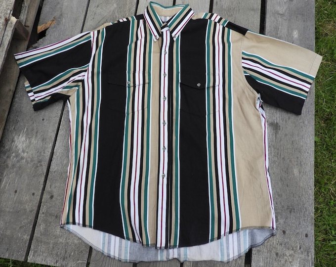 Vintage Wrangler Western Shirt, Men's XL Short Sleeve Shirt, Black Striped Button Down, Rodeo Western Wear, Ranch Clothing, Cowboy Fashion