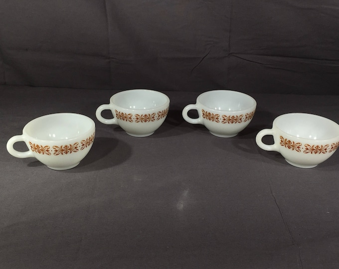 Vintage Pyrex Coffee Cups (4), Pyrex Corning 701 Tea Cups, Copper Filigree Cups, Collectible White Milk Glass Cups, Decorative Dinnerware