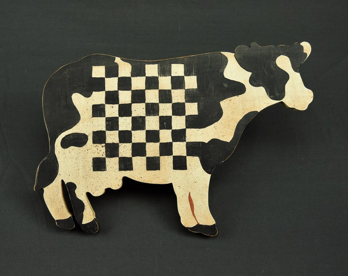 Vintage Kitchen Decor, Wall Hanging, Cow Checkerboard, Distressed Worn, Black & White, Wooden Bovine, Home Decoration, Solid Wood, Farm Art