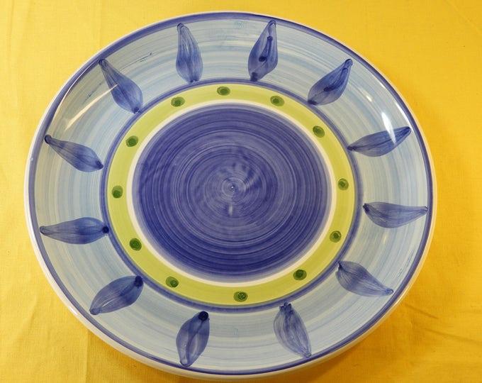 Vintage Caleca Blue Moon Dinner Plate, 11.25 Ceramic Dinnerware, Blue Moon Plate 61, Italian Kitchen Decor, Made n Italy
