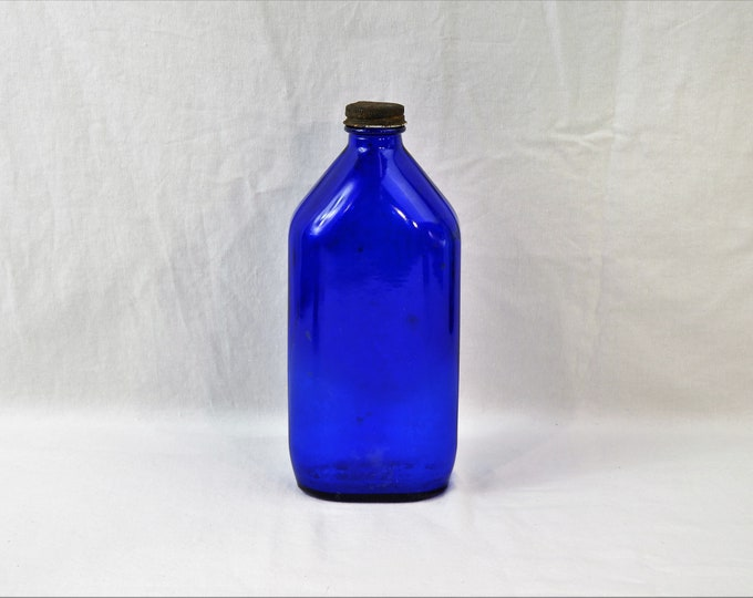 Vintage Phillips Bottle, Milk of Magnesia, Cobalt Blue Decor, Original Metal Lid, Collectible Glass, Kitchen Decoration, Made in USA