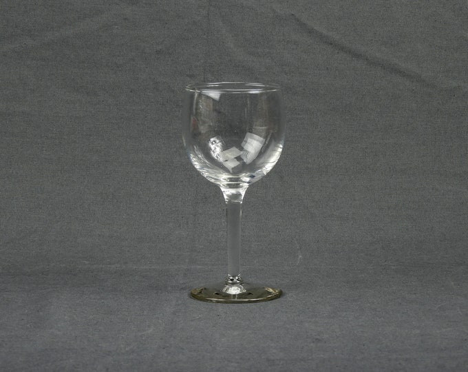 Vintage Chardonnay Glass, Wine Goblet, Petite Stemware, Crystal Glassware, Clear Color, Round Base, Old Barware, Home Decor