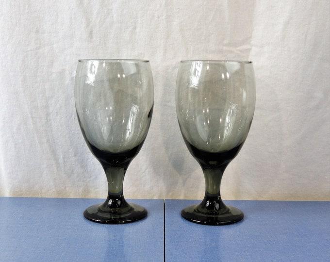 Vintage Fenton Goblets (2), Smoke Glass Stemware, Clear Gray Glasses, Blown Glassware, 16 oz Capacity, Kitchen Decoration, Collectible Decor