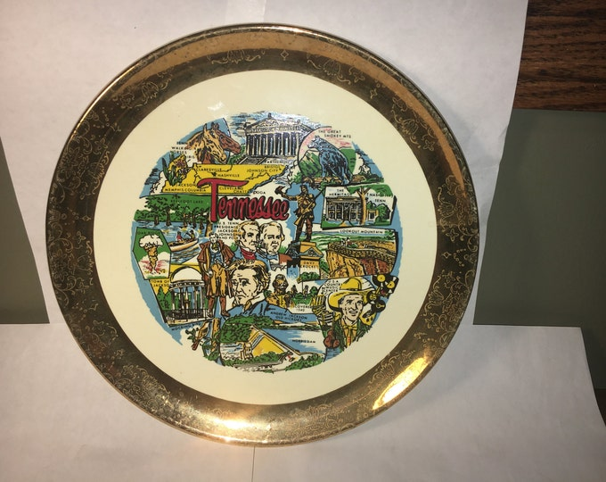 Vintage Tennessee Souvenir, Collectors Souvenir Plate,  White and Gold Rim Plate, Decorative Tennessee Gift, Tennessee People Dish