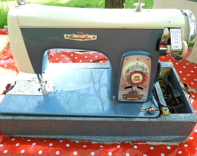 Vintage Sewing Machine, Remington Super De Luxe, Embroidery Craft, Electric Sewing Machine w/Reverse, Blue White Heavy Duty