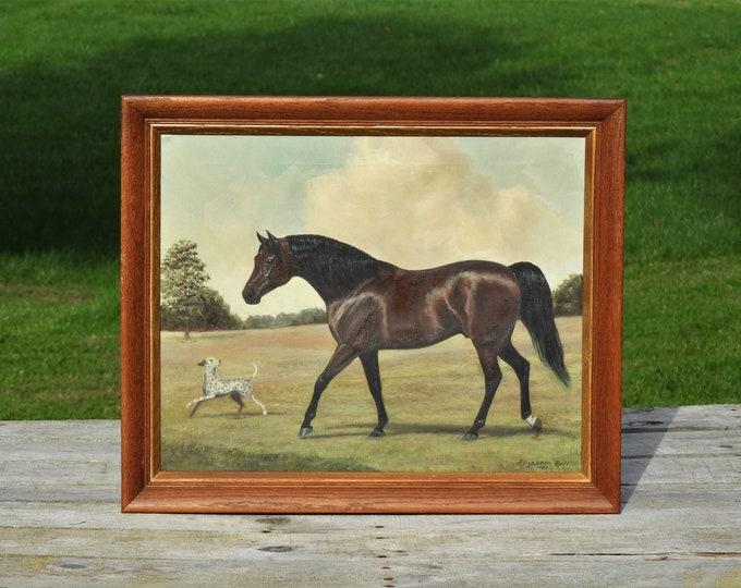 Vintage Race Horse Painting, Elizabeth Bell Art, Oil on Canvas Realism, Liver Chestnut Brown Decor, Den Decoration, Framed Wall Hanging