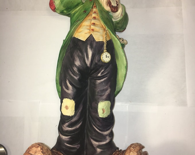 "Vintage Clown Statue, Clown Playing Violin Figure, Koreart Happy Hobo Clown, 18"" Hobo Clown Art, Decorative Green Clown"