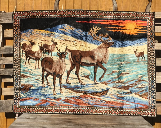 Vintage Italian Tapestry, Decorative Brown & Green Reindeer Tapestry, Collectible Fabric Arts, Rare Animal Picture, Wildlife Wall Hang Decor