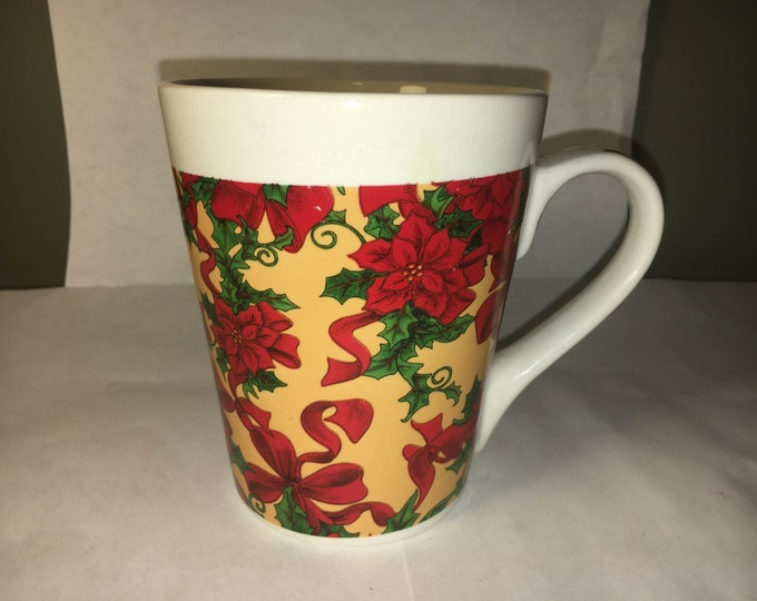 Vintage Christmas Mug, Flowers Coffee Mug, Poinsettia Christmas Mug, Floral Gift Mug, Red Green Yellowish Cup, by Royal Norfolk