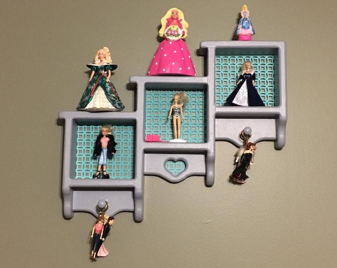 Figurine Shelf, Decorative Wooden Display, Contemporary Country Storage, Display Shelf, Shadow Box, Gray Teal Background, Home Decor