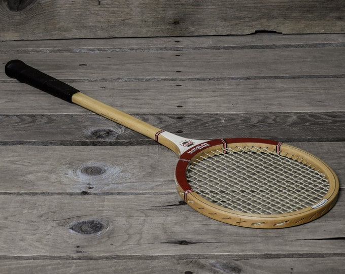 Vintage Squash Racquet, Wilson Pro, Made in USA, White Ash, Beige Gold Color, Black Leather Grip, Strata Bow, Game Room Art, Home Decor