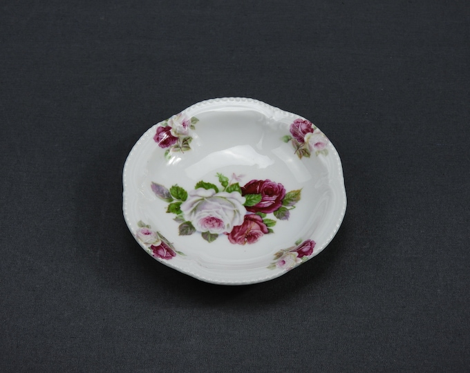 """Vintage China Bowl, Small Dish, Red & White Rose, Scalloped Beaded Rim, Kitchen Decoration, Porcelain Collectible, Home Decor, 4.75"""" German"""