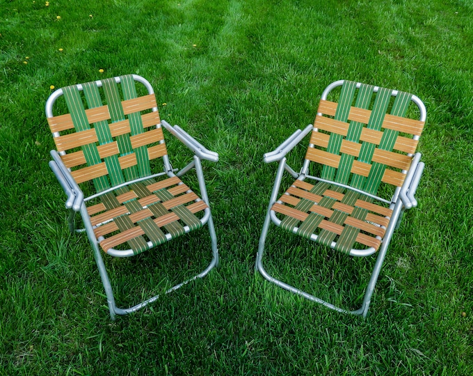 Vintage Lawn Chairs (2), Green & Gold, Tubed Aluminum, Metal Frame, Patio Furniture, Porch Decor, Folding Seats, Webbed Chair, Outdoor Seat