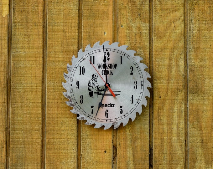 Vintage Saw Clock, Brushed Stainless, Distressed Blade, Industrial Workshop, Home Decor, Battery Operated, Wall Hanging, Silver and Black