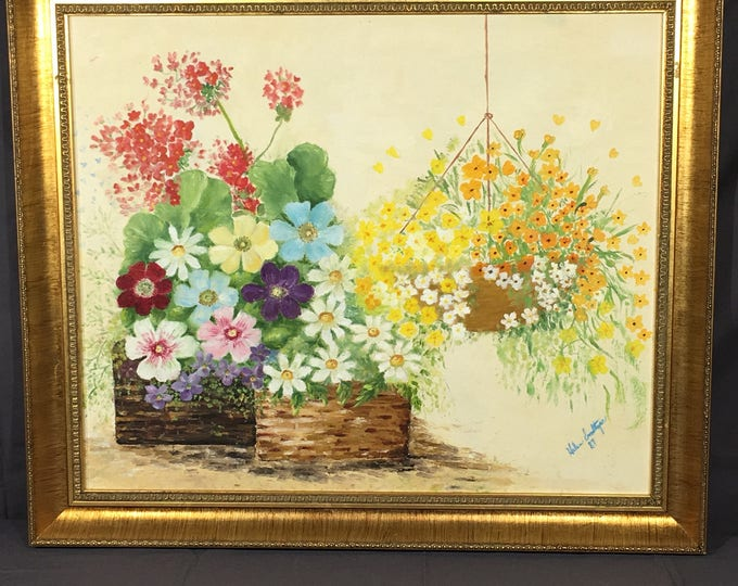 Vintage Oil Painting, Signed Helen Smoltzer Artwork, Decorative Hanging Planter Painting, Yellow Gold Bright Picture, Collectible Canvas Art