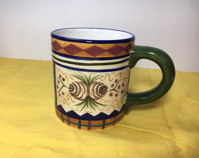 Vintage Dana Cullen Gift Mug Cup,Green Hand Painted Field & Stream 20 oz Mug FS004,Like New Never Used, Zrike Co,Made in China 4 3/8