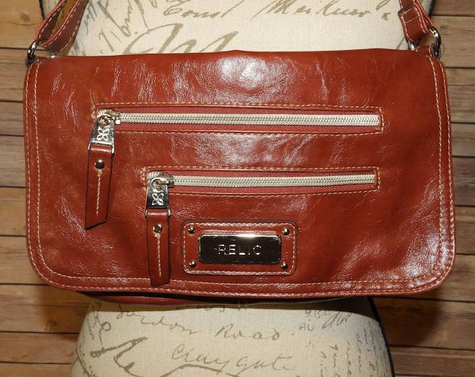 Vintage Relic Crossbody Handbag, Red Leather Look Relic Flap Over Messenger Style Purse Hand Bag, Multi-Section Handbag