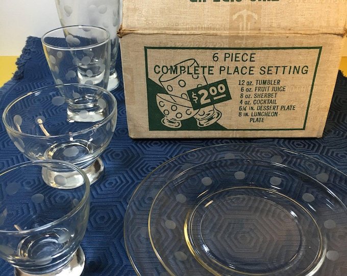 Vintage Anchor Dot Glassware, Swedish Modern Genuine Cut Glass, Clear Dinnerware, One Dot Set Glassware, Anchor Hocking Dotted