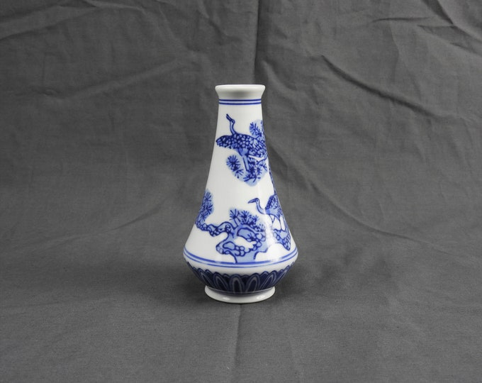 Vintage Crane Vase, Small Chinese Bottle, Blue & White Porcelain, Chinoiserie Decoration, Home Decor, Immortality Collectible