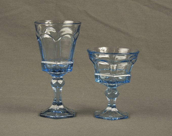Vintage Fostoria Goblets (2), Water Glasses, Jamestown Blue, Virginia Pattern, Footed Base, Home Decor, Collectible Glassware, Drinkware