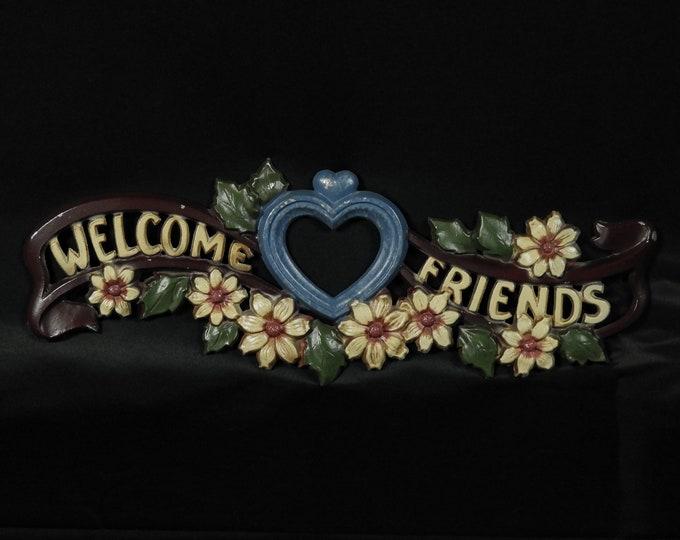 Vintage Entryway Sign, Welcome Friends, Folk Art, Wall Hanging, Aluminum Metal, Green & Blue, Home Decor, Heart w Flowers, Slight Distress