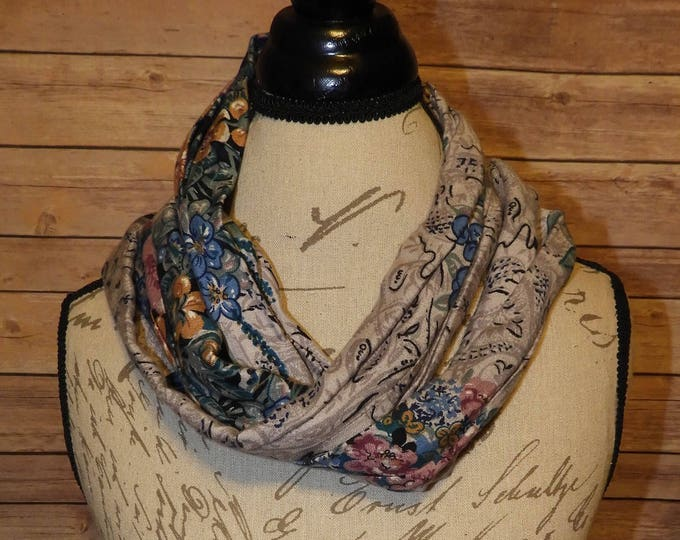 Vintage Floral Scarf, Infinity Scarf, Red Pink Teal Double-Sided Clothing Circle Scarf, Gray Paisley Background Coat Scarf, Cotton