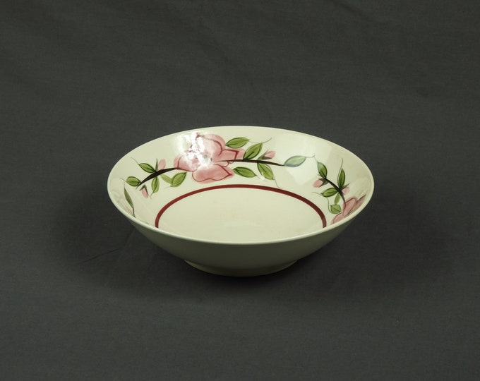 Vintage Brittany Bowl, Serving Dish, Pink Flowers, Semi Porcelain, Underglazed Colors, White to Off White, Kitchen Decor, Ceramic Dinnerware