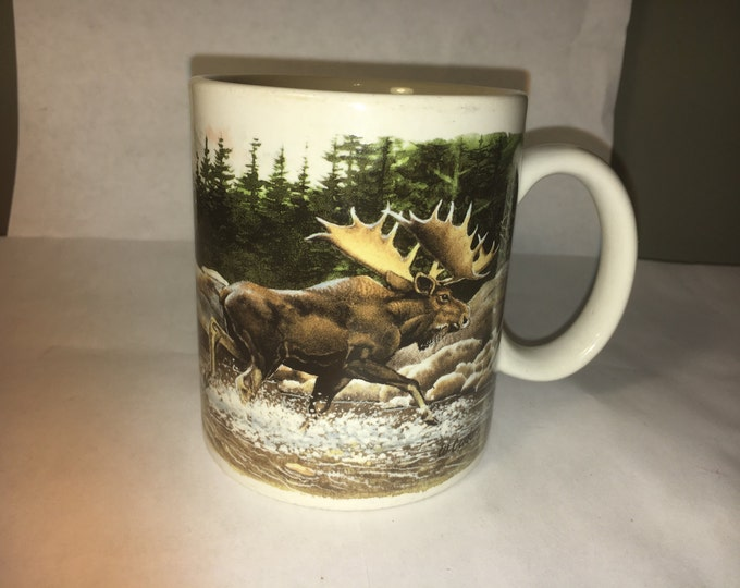 Vintage Elk Mug, Hunters Gift Mug, West Collectible Mug, Bull Elk Coffee Wildlife Mug, Man Cave Cup, Crossroads made in China