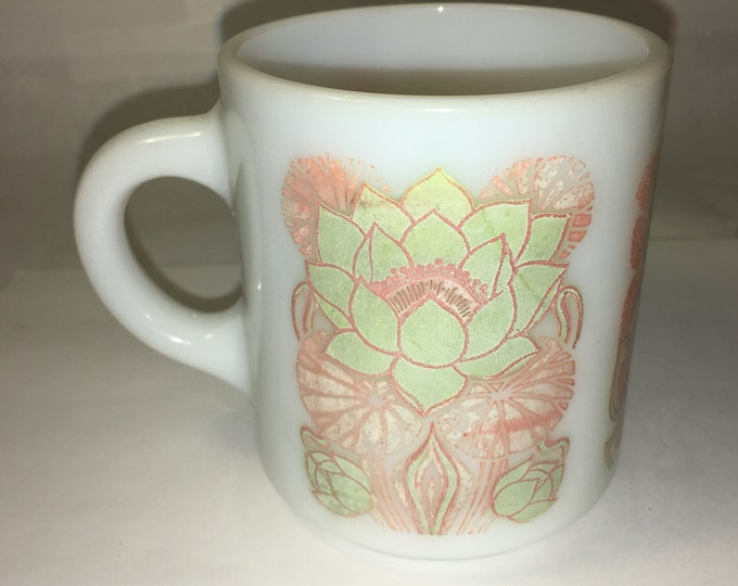 "Vintage White Milk Glass Mug, Cup w/ Sunflowers Green & Pink, A-19 on Bottom, 3 3/8"" tall"